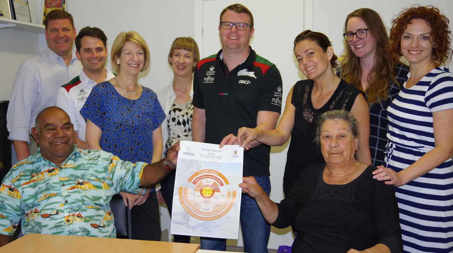 DEG's Clem Dodd and Secretary Virginia Robinson with UNSW, Souths Cares, Rabbitohs and BCA National partners in Walgett 26/11/16