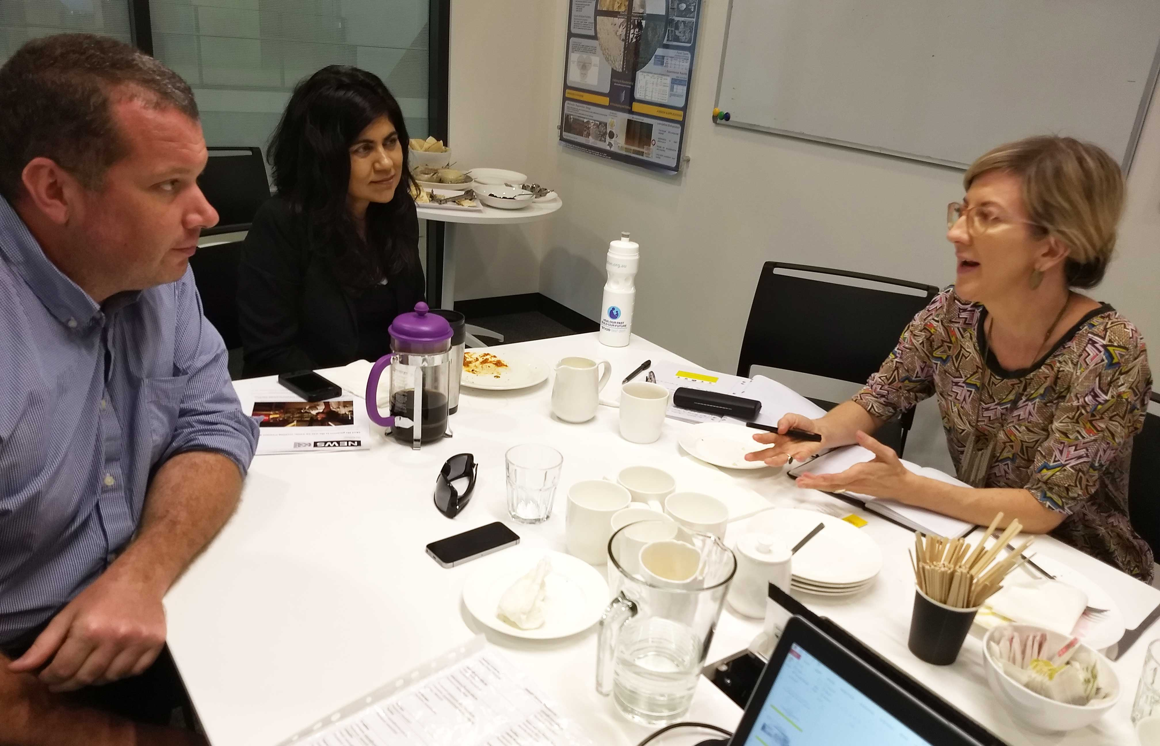 Tom Dobbie, Veena Sahajwalla, Ruth McCausland at UNSW Sm@RT Centre January 2018