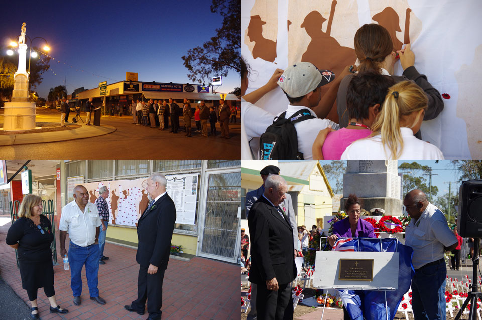 Walgett's dawn ceremony 25 April 2015, students pinning poppies to the banner during ceremony at DEG, DEG's Christine Smith, Clem Dodd and Richard Lake before Anzac Day ceremony, DEG's Richard Lake and Clem Dodd unveil the plaque during Anzac Day ceremony.