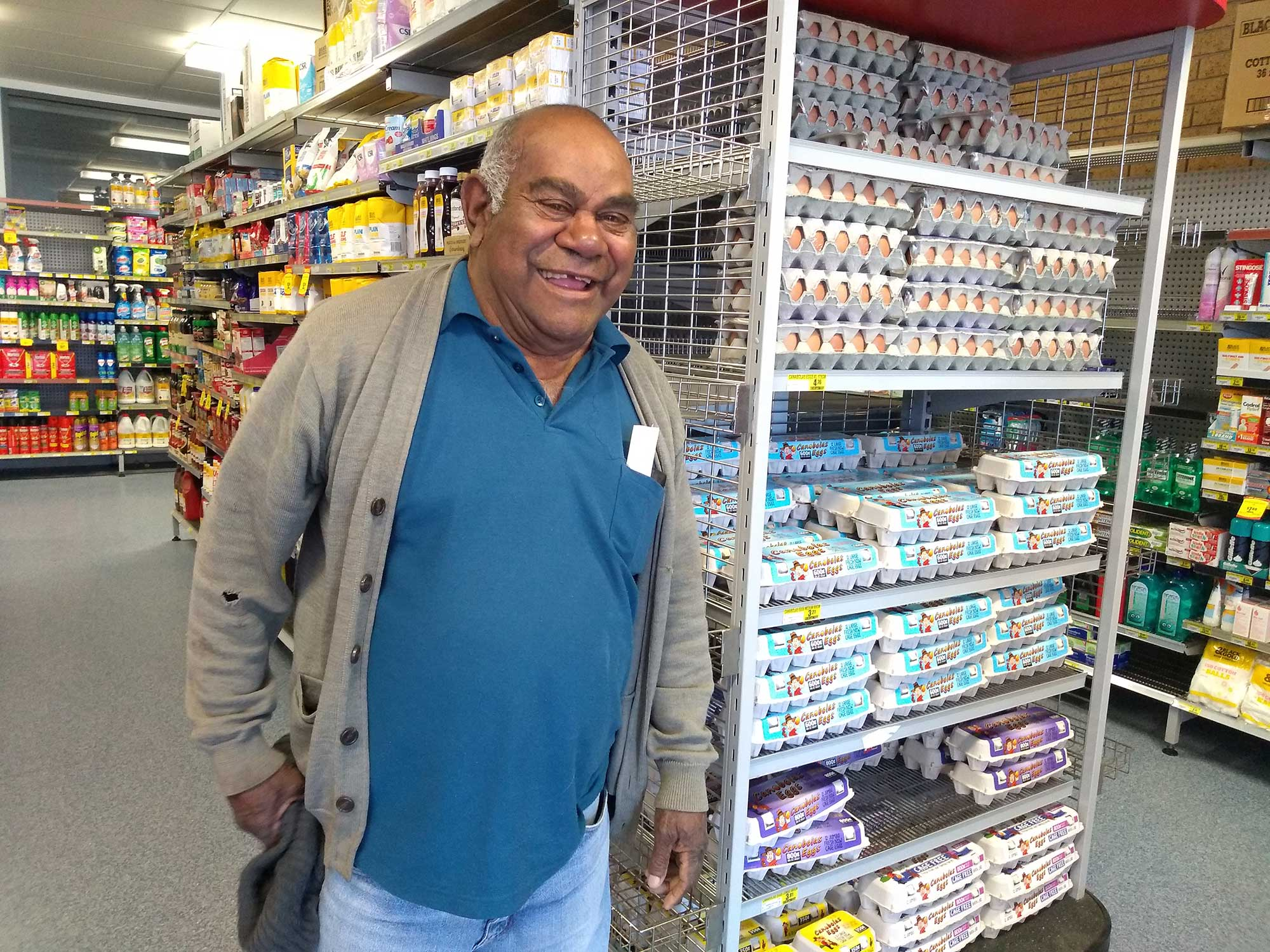 DEG's Clem Dodd was pleased to view Walgett's temporary supermarket opened 10 August 2019.