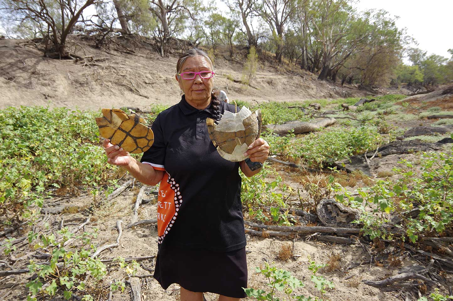 DEG's Kim Sullivan at the dry Barwon River bed 26/3/19.