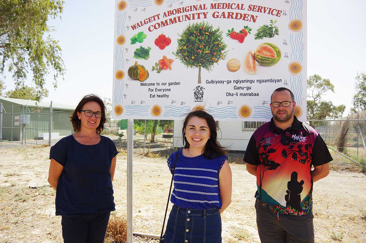 Jacqui Webster and Keziah Bennett-Brook with Ricco Lane at WAMS Community Garden.