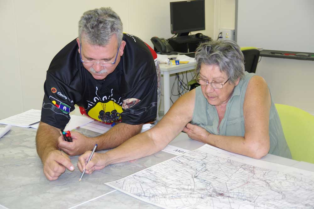 Stewart Taylor & Virginia Robinson mapping her use of rivers over her lifetime