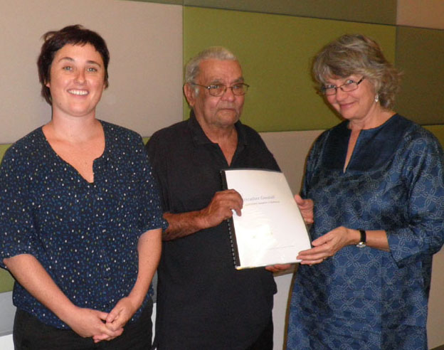Kirsten Thorpe (left) from the Aboriginal and Torres Straight Islander Data Archive with DEG's Speaker Tim Creighton and historian Heather Goodall with returned materials